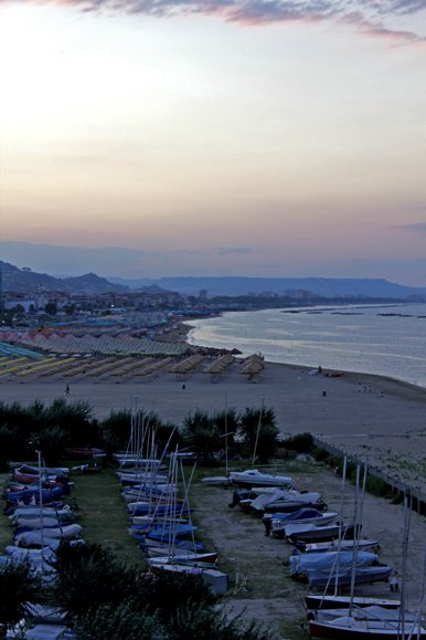 Pescara. The beach, the city, the sunset.